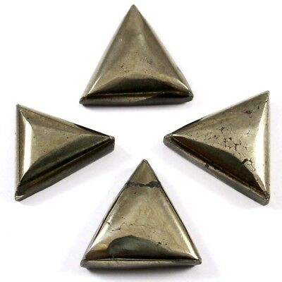94.05ct Natural Apache Gold Pyrite Gemstone Triangle Cabochon 4 Pc Wholesale Lot
