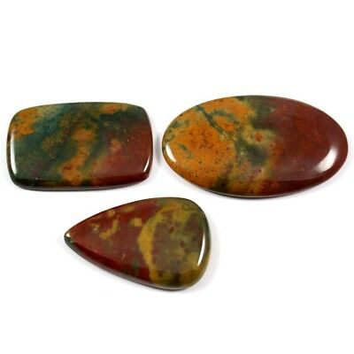 131.70ct 100% Natural Bloodstone Gemstone Mix Loose Cabochon 3 Pcs Wholesale Lot