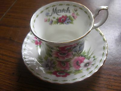 Royal Albert Bone China Flower Of The Month Teacup And Saucer Anemones 1970 Nice