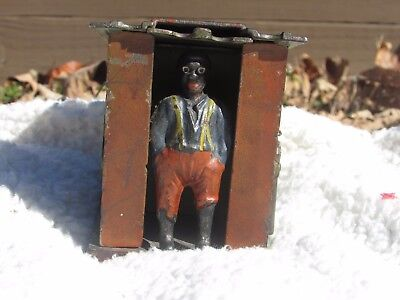 J E Stevens Cast Iron Bank DARKY IN CABIN Original Paint STILL WORKS