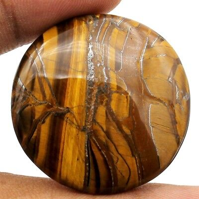 60.20ct Natural Stunning Quality African Tiger Eye Cabochon Round Loose Gemstone