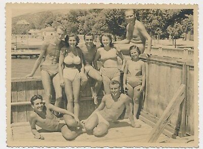 Group Handsome swimsuit trunks Guys and on Girls Old Photo