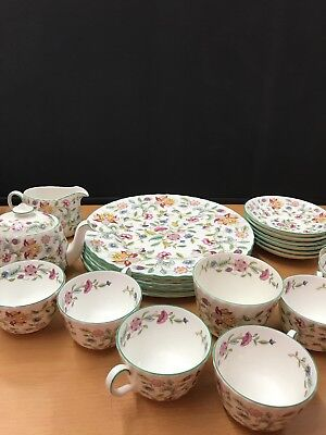 minton haddon hall 21 piece teapot plate cups saucers English bone china pottery