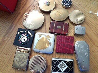 Vtg Lot Powder Mirror Compacts Cigarettepill Box