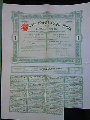 GB-10  ACTION 1 £ ster. (1907) THE SIERRA MORENA COPPER MINES (19 coupons)