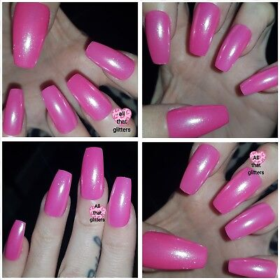 Pink with WHITE CHROME Shiny LONG COFFIN False Nails x 20