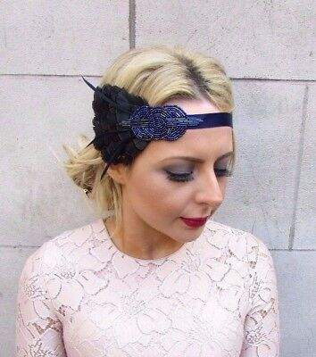 Navy Royal Blue Pheasant Feather Headpiece 1920s Headband Flapper Gatsby 4304