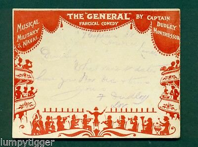 COURT CARD,FARCICAL COMEDY,THE GENERAL BY DUDLEY MONTRESSOR, vintage postcard