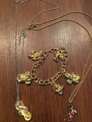 Lot Of ((3)) Mickey Charm Bracelet W/ Mickey And Pooh Necklace