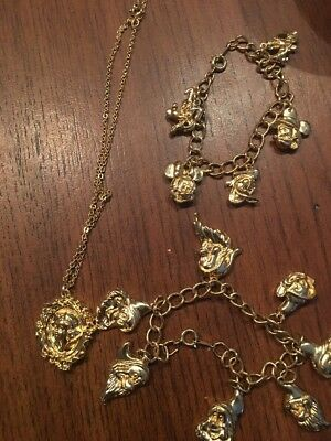 Collectible Snow White Necklace, Goldtone 7 Dwarfs Charm Bracelet, Mickey Bonus*