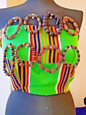 Authontic African Ethnic Cultural  Wooden Bead Stretch Bracelet Necklace