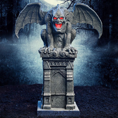 """Halloween 3ft 7"""" (109.2cm) Haunted Gargoyle with Lights and Sounds"""