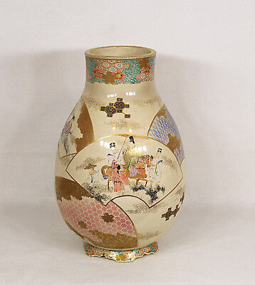 Large Antique Meiji period Japanese Ceramic Vase Signed