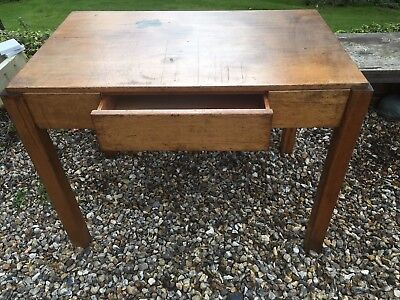Mid Century Modern Military 1950's WD Wooden Industrial Desk With Draw