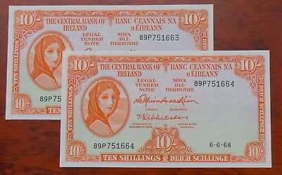 Ireland, Central Bank of, Lady Lavery  10/-, dated 6.6.68 (2 notes), UNC