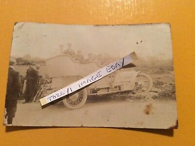 Rare rppc 1907 TT tourist trophy motorcar crash sulby bridge I.o.m t h midwood
