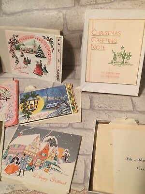 1951  Christmas Card Box Full Sent Cards Dated Stamps Crafts