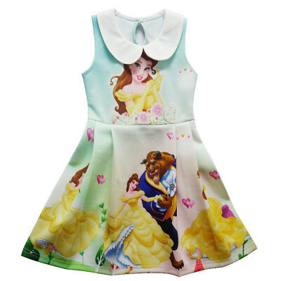 Girls Gorgeous Beauty and the Beast Sleeveless Party Holiday Birthday Dress K110