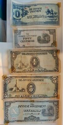 Japanese Government WWII Centavos One, Five, Ten, Fifty, & One Shilling