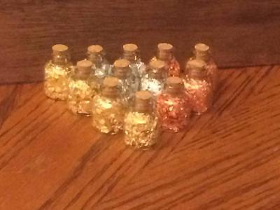 Gold,Silver,Copper Flakes in 4 ML Glass Wish Bottles With Cork (Lot of 12)