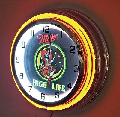"""Miller High Life Lady in the Moon Red Neon Clock - 19"""" Diameter"""