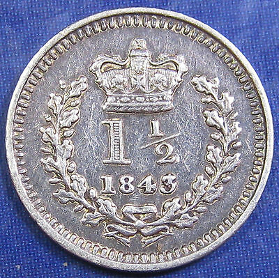 1843 1½d Victoria fascinating silver Threehalfpence in a good grade