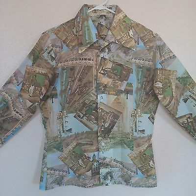 Vintage Railroad Train Depot Button Shirt Size 18 Long Sleeve Montgomery Ward