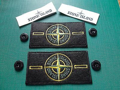 Set of 2 STONE ISLAND BADGES/PATCHES PLUS 4 BUTTONS, 2 SEW-ON LABELS
