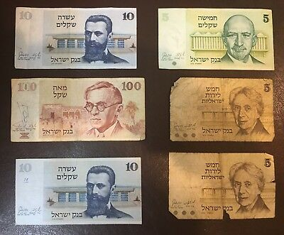 Lot 6 Israeli BankNotes Lirot & Shekels 1973 - 1979 Used Condition (#U0171)