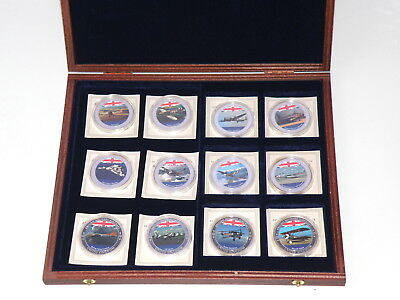 TWELVE x SILVER PLATED PROOF BRITISH MILITARY AIRCRAFT MEDALS in WOODEN BOX