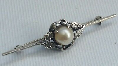 Vintage Art Nouveau Solid Silver Bar Brooch Pin Freshwater Pearl Floral