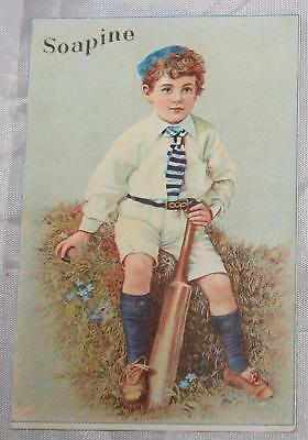 Antique Victorian Trade Card Soapine Soap Boy in Rugby Outfit Uniform Bat Ball