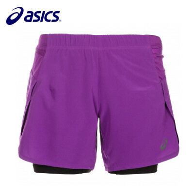 Asics Fujitrail Womens Ladies 2 In 1 Trail Running Gym Inner Tight Shorts Sizes