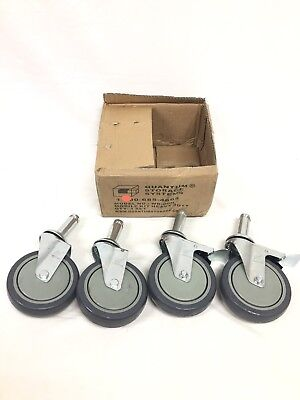 Set of 4 Stem Swivel Casters Wheels 2 w/Brake Mobile Heavy Duty Kit New Quantum