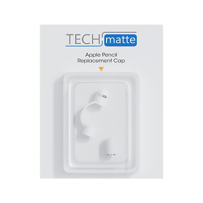 TechMatte Apple Pencil Magnetic Replacement Cap and Holder (1 Pack, White)