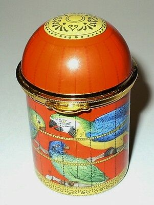 Staffordshire Enamels Box - Bird Cage & Exotic Birds -Cockatoo & Parrots- Macaw