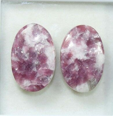 Pair  36.40 Cts. 100 % Natural Lepidolite Untreated Oval Cab Loose Gemstones