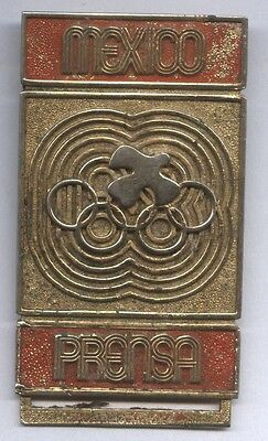 Orig.participant pin   XIX.Olympic Games MEXICO 1968  -  PRESSE  !!  EXTREM RARE