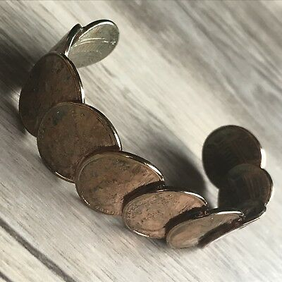 Vintage Lincoln 1974 D Penny One Cent Coin Open Cuff Wrist Bracelet Small 5.5""