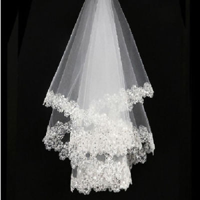 1layer White cathedral Bridal Wedding Veil Lace Applique Sequins Edge