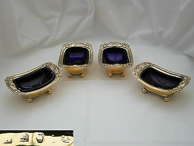 RARE SET of 4 GEORGE III HM STERLING SILVER GILT SALTS 1803