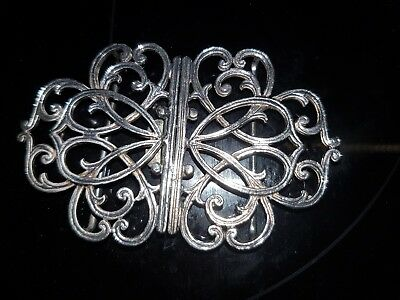Nurses silver plated delicate ornate buckle