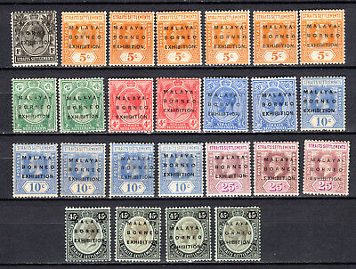 Malaya 1922 Straits Settlements Kgv North Borneo Exhibition Mh Stamps