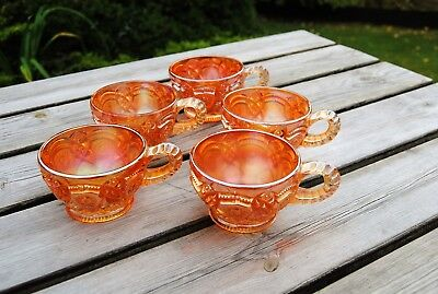 Vintage Carnival Glass Punch Cups Imperial Marigold Pattern Set Of 5