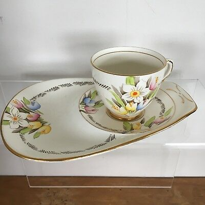T.F & S. Ltd China Cup and Saucer/Biscuit Plate Set with Floral Design