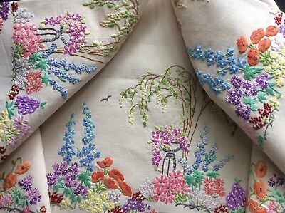 Stunning Vintage Hand Embroidered Tablecloth ~ Willow Tree/floral Garden