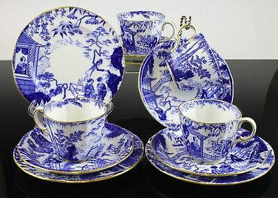 Very Fine Royal Crown Derby Mikado Pattern Set Of 4 Trios Cup Saucer Bread Plate