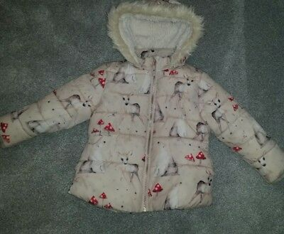 Girls Next padded fur lined winter coat 5-6 VGC