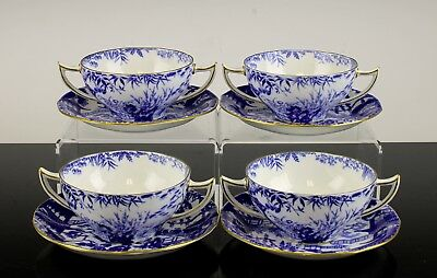 Fine Royal Crown Derby Mikado Pattern Set Of 4 Bouillon Cream Soups With Saucers