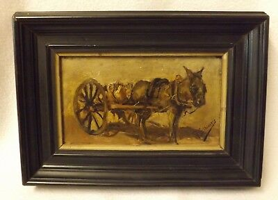 Late 19th Century French School, Silvestre, Oil on Board, Donkey Pulling a Cart